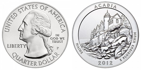 2012 Acadia 5 Ounce Burnished Uncirculated Coin - 5 oz Silver
