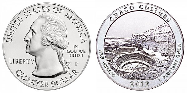 2012 Chaco Culture 5 Ounce Burnished Uncirculated Coin - 5 oz Silver