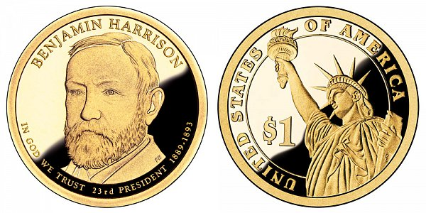 2012 S Proof Benjamin Harrison Presidential Dollar Coin