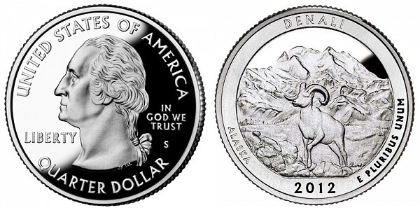 2012 S Proof Denali National Park Quarter - Alaska