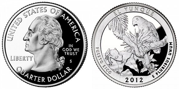 2012 S Proof El Yunque National Forest Quarter - Puerto Rico