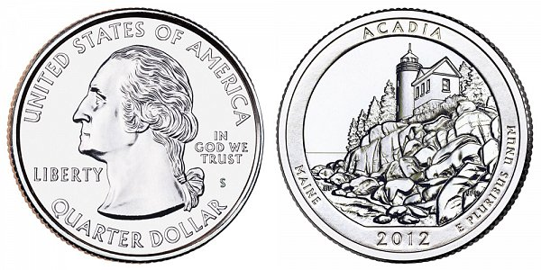 2012 S Uncirculated Acadia National Park Quarter - Maine