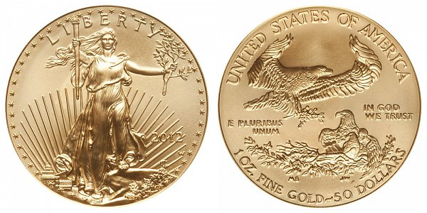 2012 W Burnished Uncirculated One Ounce American Gold Eagle - 1 oz Gold $50