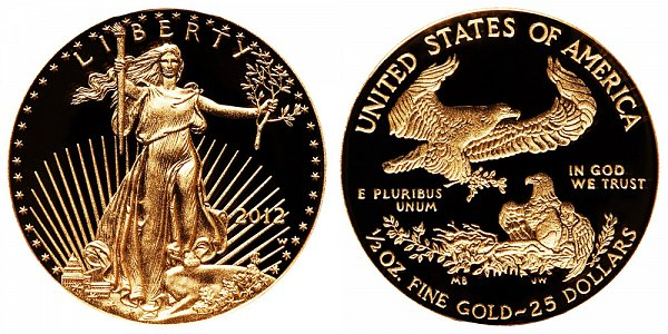 2012 W Proof Half Ounce American Gold Eagle - 1/2 oz Gold $25