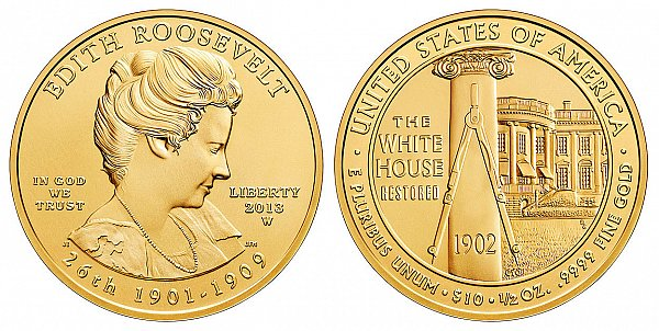 2013 Edith Roosevelt First Spouse Gold Coin Design