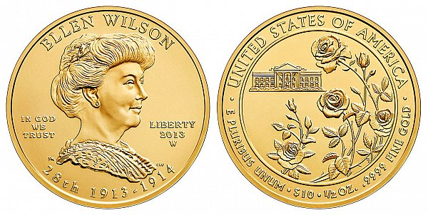 2013 Ellen Wilson First Spouse Gold Coin Design