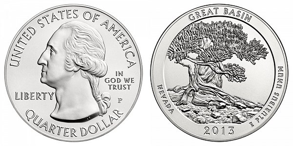 2013 Great Basin 5 Ounce Burnished Uncirculated Coin - 5 oz Silver