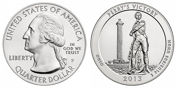 2013 Perrys Victory 5 Ounce Burnished Uncirculated Coin - 5 oz Silver