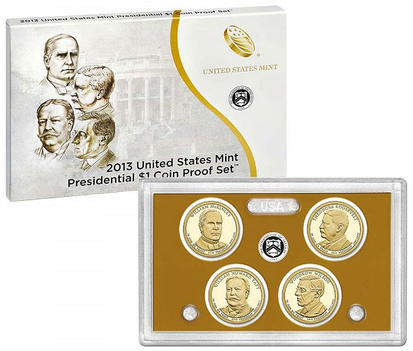 2013 Presidential $1 Dollar Coin Proof Set - 2013-S 4 Piece Set