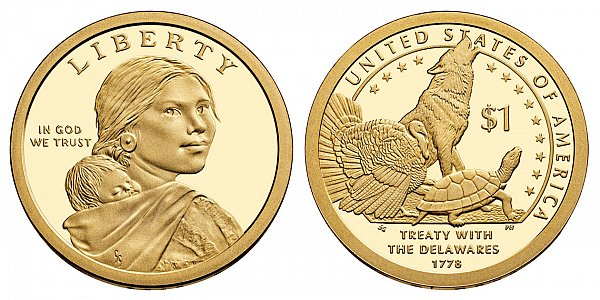 2013 S Proof Sacagawea Native American Dollar Coin - Delawares Treaty 1780