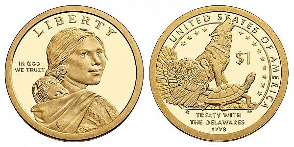 2013 S Proof Sacagawea Native American Dollar Coin - Delawares Treaty 1780