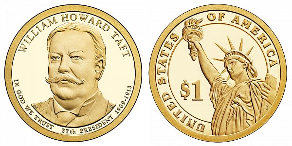 2013 S Proof William Howard Taft Presidential Dollar Coin