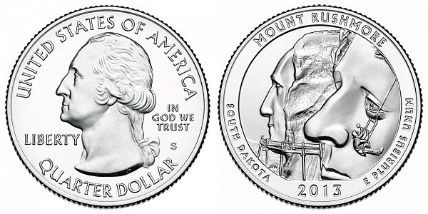 2013 S Uncirculated Mount Rushmore National Memorial Quarter - South Dakota