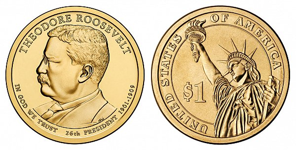 2013 D Theodore Roosevelt Presidential Dollar Coin