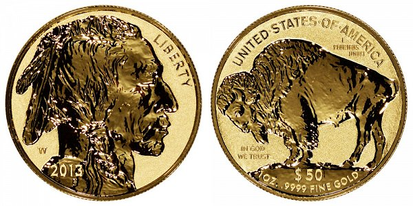 2013 W Reverse Proof One Ounce Gold American Buffalo - 1 oz Gold $50