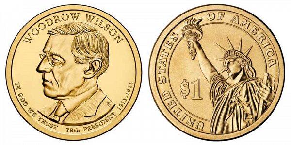 2013 D Woodrow Wilson Presidential Dollar Coin