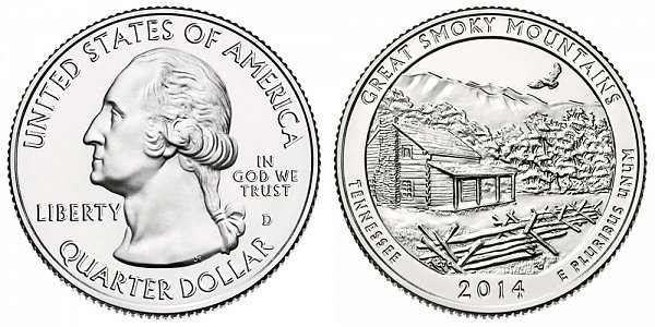 2014 D Great Smoky Mountains National Park Quarter - Tennessee