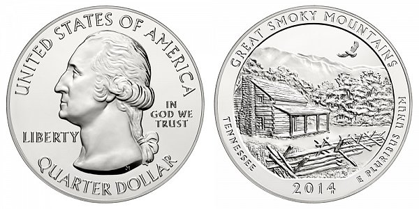 2014 Great Smoky Mountains 5 Ounce Bullion Coin - 5 oz Silver