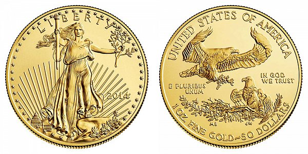 2014 American Gold Eagle - Brilliant Uncirculated $50 1oz One Ounce Gold Bullion