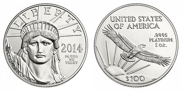 2014 American Platinum Eagle - Brilliant Uncirculated $100 1oz One Ounce Platinum Bullion
