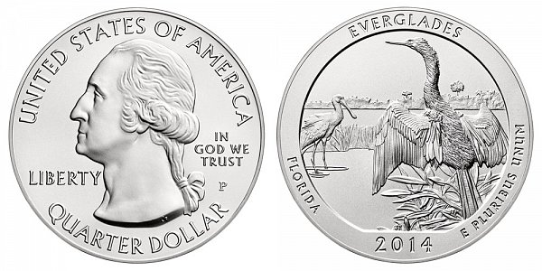 2014 Everglades 5 Ounce Burnished Uncirculated Coin - 5 oz Silver