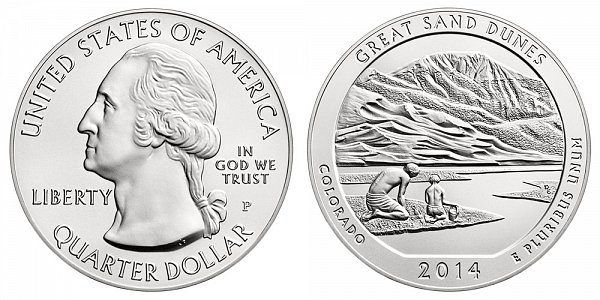 2014 Great Sand Dunes 5 Ounce Burnished Uncirculated Coin - 5 oz Silver