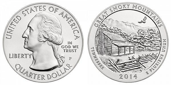 2014 Great Smoky Mountains 5 Ounce Burnished Uncirculated Coin - 5 oz Silver