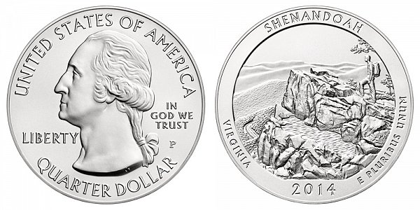 2014 Shenandoah 5 Ounce Burnished Uncirculated Coin - 5 oz Silver