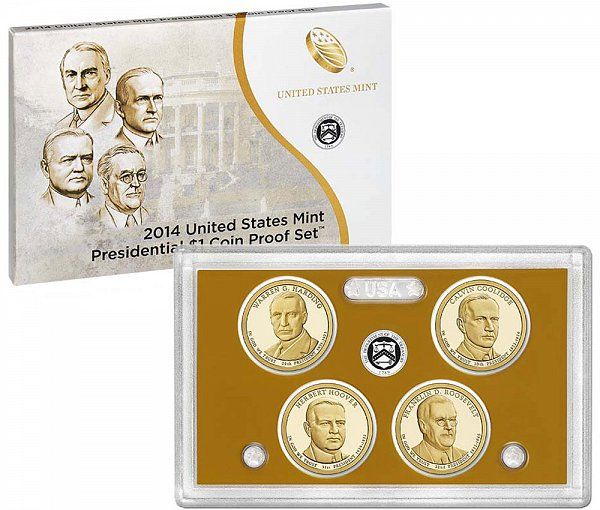 2014 Presidential $1 Dollar Coin Proof Set - 2014-S 4 Piece Set