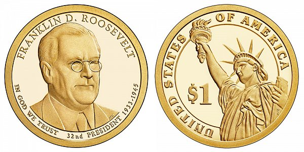 2014 S Proof Franklin D. Roosevelt Presidential Dollar Coin