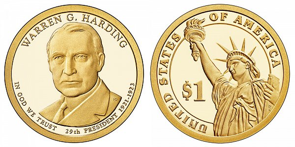 2014 S Proof Warren G. Harding Presidential Dollar Coin