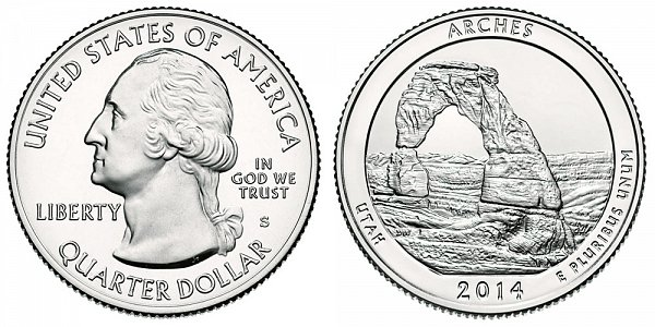 2014 S Uncirculated Arches National Park Quarter - Utah