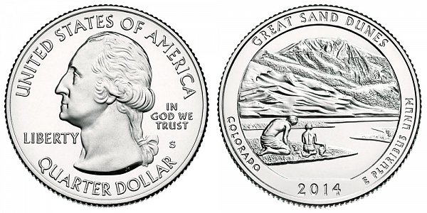 2014 S Uncirculated Great Sand Dunes National Park Quarter - Colorado