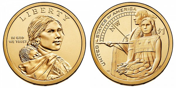 2014 D Sacagawea Native American Dollar Coin - Native Hospitality