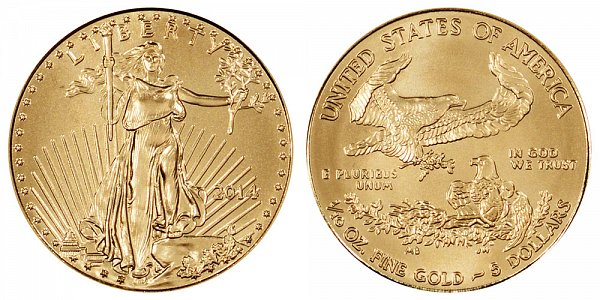 2014 Tenth Ounce American Gold Eagle - Narrow Reeds - 1/10 oz Gold $5