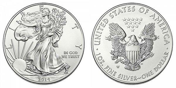 2014 W Burnished American Silver Eagle