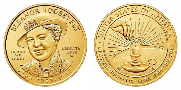 2014 W Eleanor Roosevelt First Spouse Gold Bullion Coin - Brilliant Uncirculated 1/2oz Half Ounce Gold