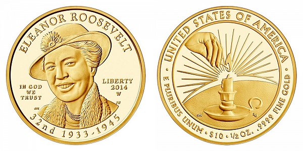 2014 W Eleanor Roosevelt First Spouse Gold Proof Coin - 1/2oz Half Ounce Gold