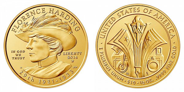 2014 W Florence Harding First Spouse Gold Bullion Coin - Brilliant Uncirculated 1/2oz Half Ounce Gold