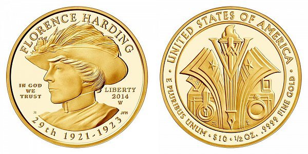 2014 W Florence Harding First Spouse Gold Proof Coin - 1/2oz Half Ounce Gold