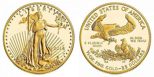 2014 W Half Ounce American Gold Eagle Proof - $25 1/2 oz Gold