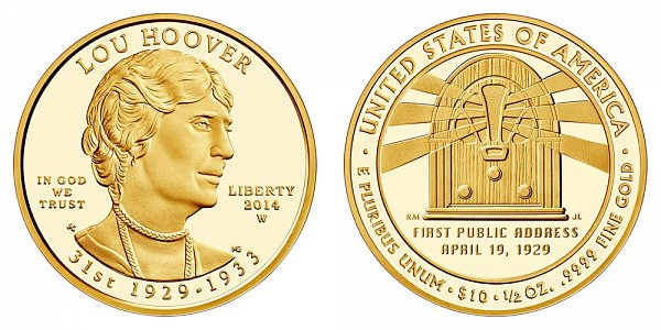2014 W Lou Hoover First Spouse Gold Proof Coin - 1/2oz Half Ounce Gold