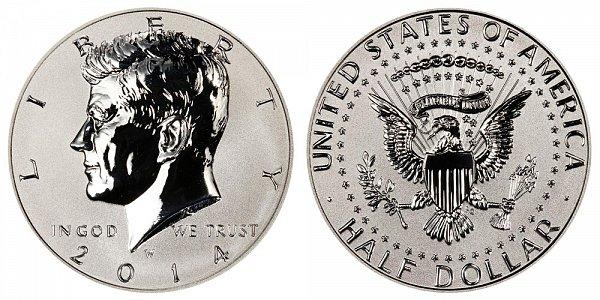 2014 W Reverse Proof Kennedy Half Dollar