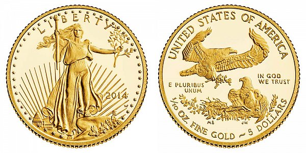 2014 W Tenth Ounce American Gold Eagle Proof - $5 1/10 oz Gold