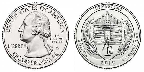 2015 D Homestead National Monument of America Quarter - Nebraska