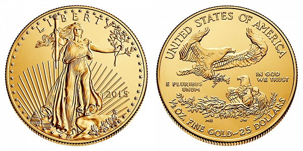2015 American Gold Eagle - Brilliant Uncirculated $25 1/2oz Half Ounce Gold Bullion