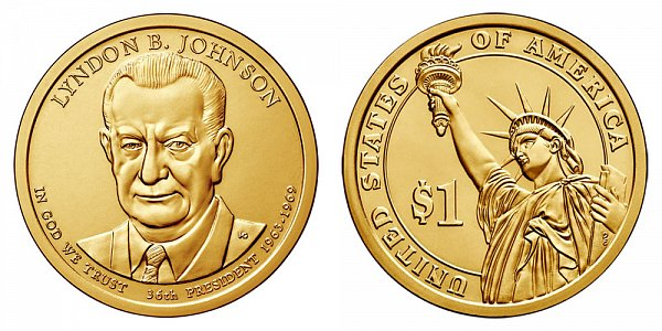 2015 P Lyndon B. Johnson Presidential Dollar Coin