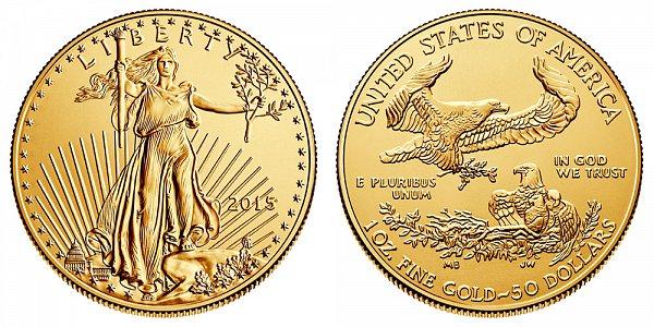 2015 American Gold Eagle - Brilliant Uncirculated $50 1oz One Ounce Gold Bullion