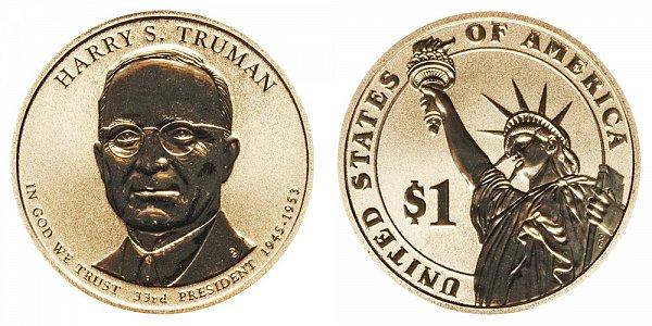 2015 P Harry S. Truman Presidential Dollar Coin - Reverse Proof