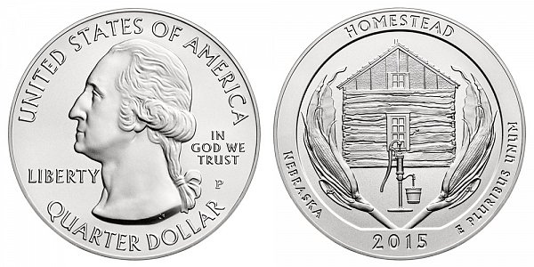 2015 Homestead 5 Ounce Burnished Uncirculated Coin - 5 oz Silver